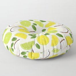 Lime Lemon Coconut Mint pattern Floor Pillow