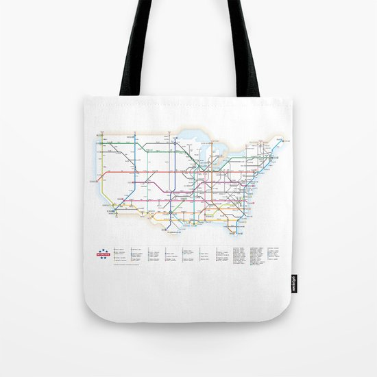 Interstate Highways as a Subway Map Tote Bag
