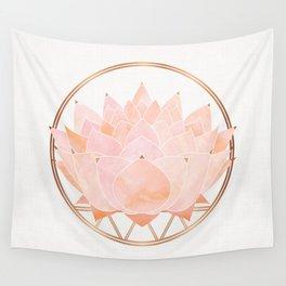Blush Zen Lotus ~ Metallic Accents Wall Tapestry