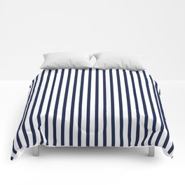Navy Blue Vertical Stripes Comforters