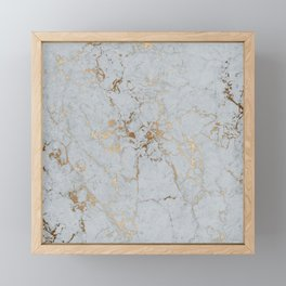 Stylish blush teal gold elegant abstract marble Framed Mini Art Print