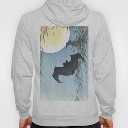 Bats, Willow Tree and The Full Moon - Vintage Japanese Woodblock Print Art Hoody