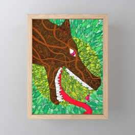 Embroided Wolf Framed Mini Art Print