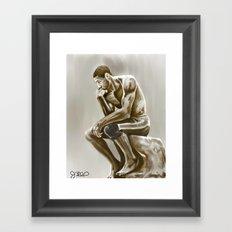 Tim Duncan, the thinker Framed Art Print