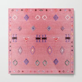 N61 - Lovely Pink Traditional Boho Farmhouse Moroccan Style Artwork Metal Print