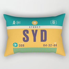 Retro Airline Luggage Tag - SYD Sydney Kingsford Smith Rectangular Pillow