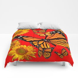 BUTTERFLIES & GOLDEN SUNFLOWERS ON CHINESE RED Comforters