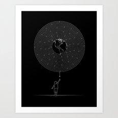 I Dream To Explore The World (Black) Art Print