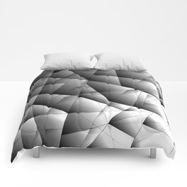 Glowing monochrome pattern of chaotic black and white fragments of glass, metal and ice floes. Comforters