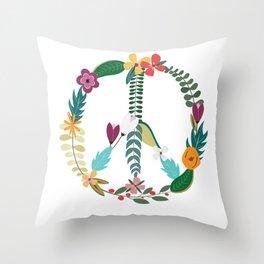 Floral Peace Sign Throw Pillow