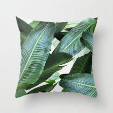 Tropical Palm leaf, banana leaf, greens, Hawaii, retro style Throw Pillow