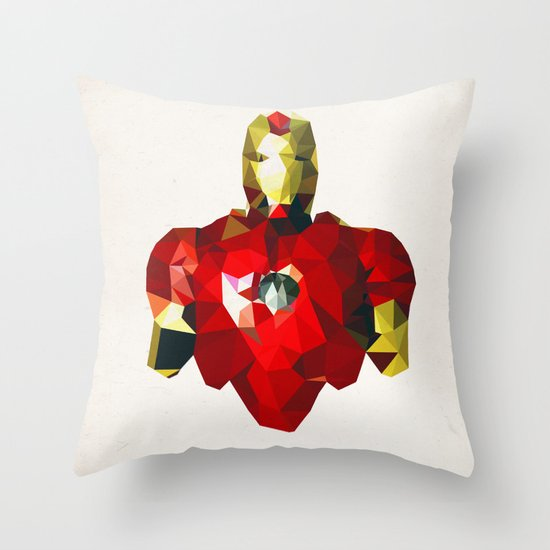 Polygon Heroes - Iron Man Throw Pillow