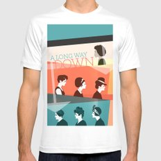 long way down White MEDIUM Mens Fitted Tee