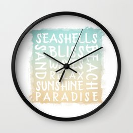 Watercolor Typography with a beach house flair Wall Clock