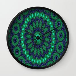 Lovely Healing Mandalas in Brilliant Colors: Black, Royal Blue, Dark Green, and Russian Green Wall Clock