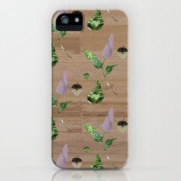 Floral Pattern on Wooden Table iPhone Case