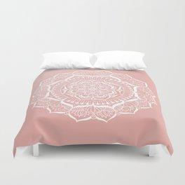 White Flower Mandala on Rose Gold Duvet Cover