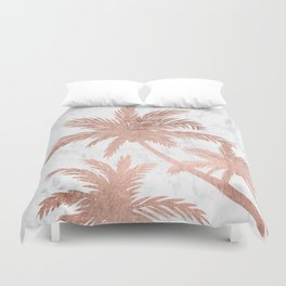 Tropical simple rose gold palm trees white marble Duvet Cover