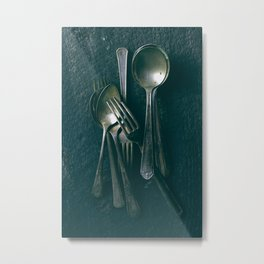 Beautiful Vintage Spoons on Black Metal Print
