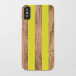 Wood Grain Stripes Yellow #255 iPhone Case