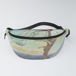 Lonely Cedar Tree Landscape Painting Fanny Pack