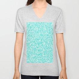 Tiny Spots - White and Turquoise Unisex V-Neck