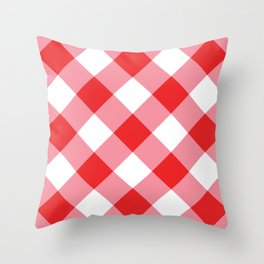 Gingham - Red Throw Pillow