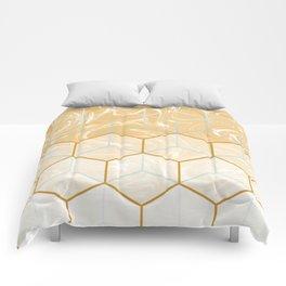 Geometric Effect Caramel Marble Design Comforters