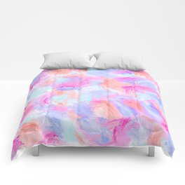 Modern Girly Pink Coral Purple Abstract Paint Comforters
