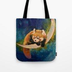 Red Panda Moon Tote Bag