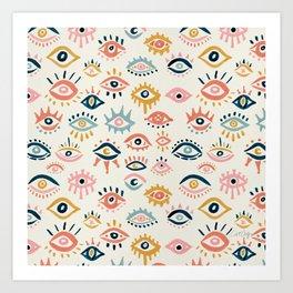 Mystic Eyes – Primary Palette Art Print