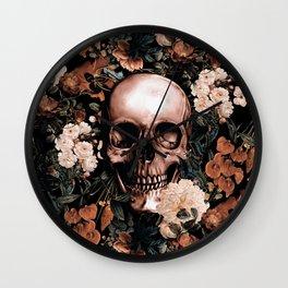 SKULL AND FLOWERS II Wall Clock