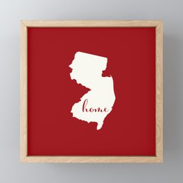 New Jersey is Home - White on Red Framed Mini Art Print