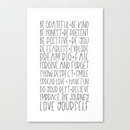 Family Reminders + Values Canvas Print