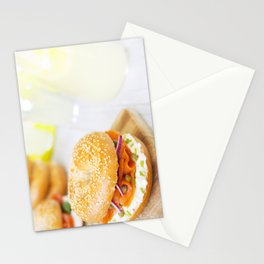 Bagel with salmon and cream cheese, brightly lit Stationery Cards