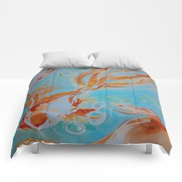 GoldFish Bubbles 1sw watercolor by CheyAnne Sexton Comforters