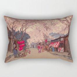 Avenue of Cherry Trees Hiroshi Yoshida Japanese Woodblock Prints Rectangular Pillow