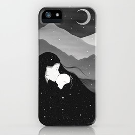 Mountain's Lullaby - Black & White iPhone Case