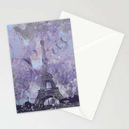 Purple Paris Watercolor Art Stationery Cards