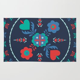 Folk Flowers with Red Border Rug