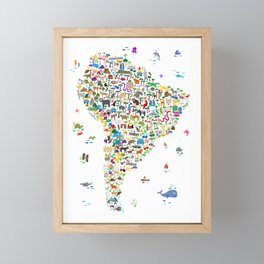 Animal Map of South America for children and kids Framed Mini Art Print