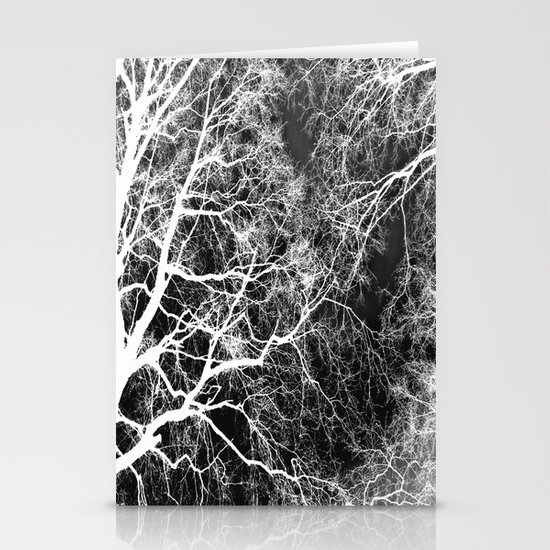 White on Black Trees Stationery Cards