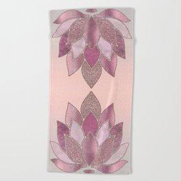 Elegant Glamorous Pink Rose Gold Lotus Flower Beach Towel