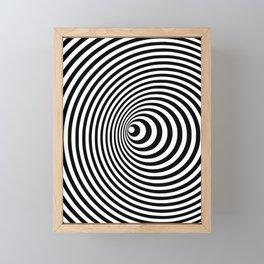 Vortex, optical illusion black and white Framed Mini Art Print