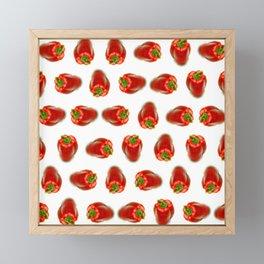Red peppers pattern Framed Mini Art Print