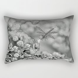 The March hare and the dragonfly b/w Rectangular Pillow