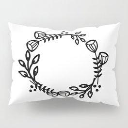 Doodle floral wreath - black Pillow Sham
