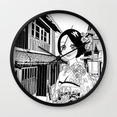 Kimono girl (manga style drawing) Wall Clock