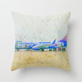 SunExpress Boeing 737-800. The smurfs..... the lost village Throw Pillow