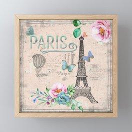 Paris - my love - France Nostalgy - pink French Vintage Framed Mini Art Print